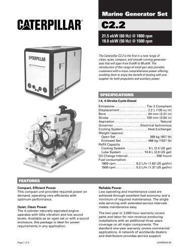 Cat C2-2 Genset Spec Sheet