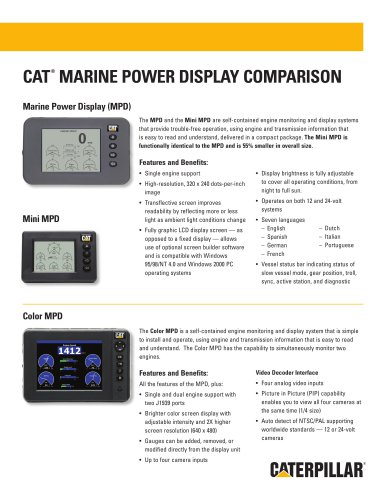 cat® marine power display comparison