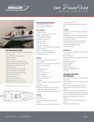 240 Dauntless Specifications - 2015