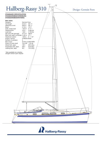 Hallberg-Rassy 310 Standard specifications