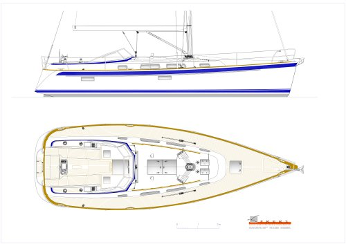 Hallberg-Rassy 412 Deck plan and exterior side view