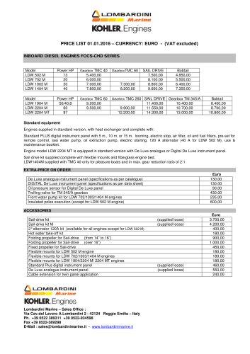 INBOARD DIESEL ENGINES FOCS-CHD SERIES