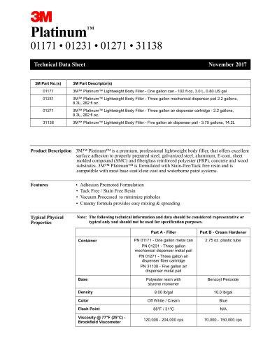 3M™ Platinum™ Filler - 01121, 01171, 01231, 01271, 31311 TDS