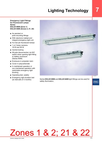 Emergency Light Fittings for Fluorescent Lamps Series EXLUX 6008/EXLUX 6408