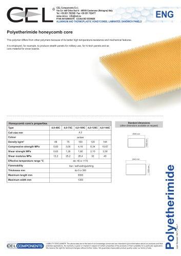 Polyetherimide honeycomb