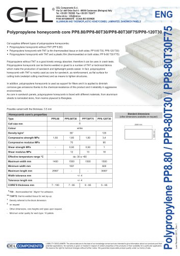 Polypropylene honeycomb core PP8.80/PP8-80T30/PP8-80T30F75/PP8-120T30