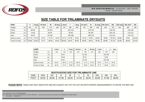 SIZE TABLE FOR TRILAMINATE DRYSUITS