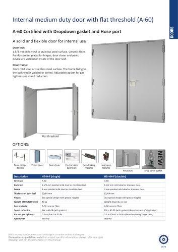 Internal medium duty door with flat threshold (A-60)